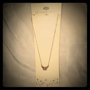 LC Lauren Conrad long chain butterfly necklace.